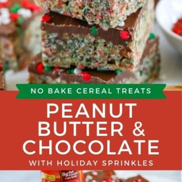 Photo collage showing holiday no bake cereal bars with recipe title in middle