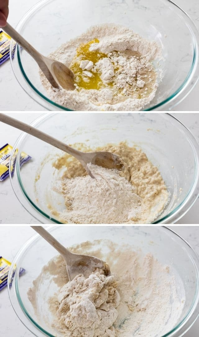 3 photos of process to make the pizza crust dough