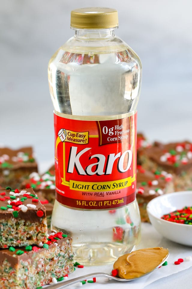 Karo light corn syrup bottle with holiday no bake cereal bars around it
