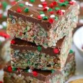 Stack of holiday no bake cereal bars