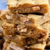 Close up of the side of the stack of toffee blondies
