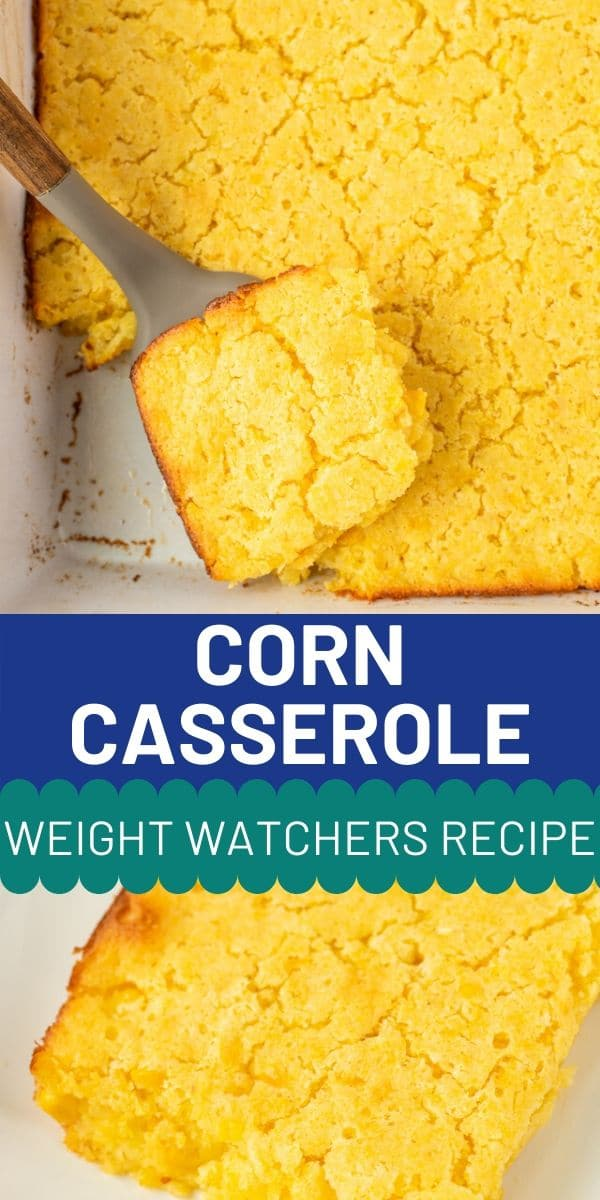 Photo collage of weight watchers corn casserole with recipe title in middle of photos