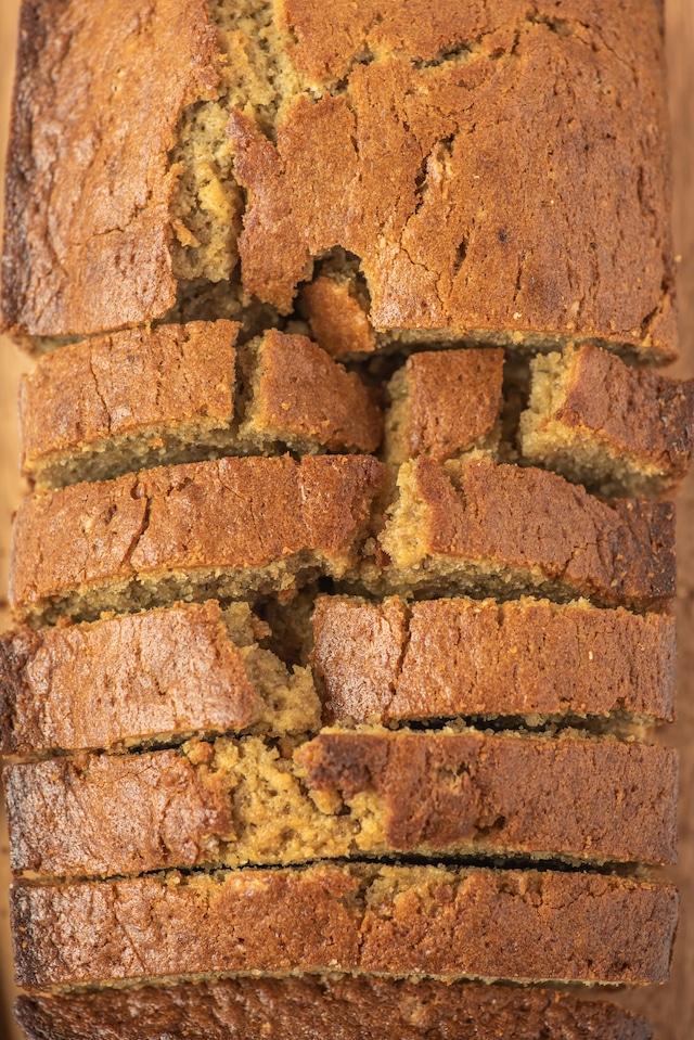Close up overhead shot of sliced biscoff banana bread loaf