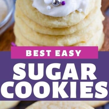 Photo collage of the best easy sugar cookies with recipe title in middle