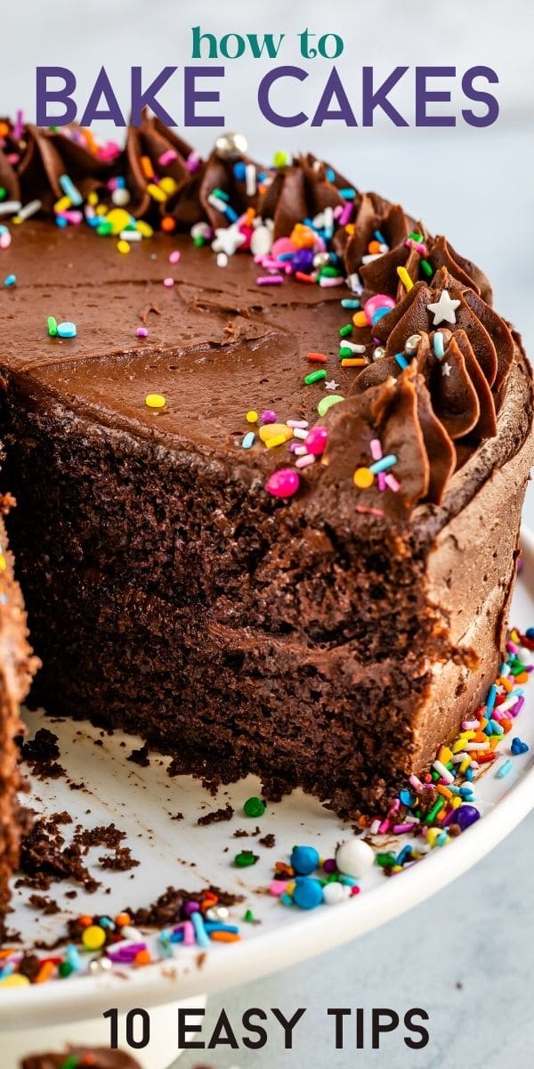 chocolate cake with slice missing and words on photo