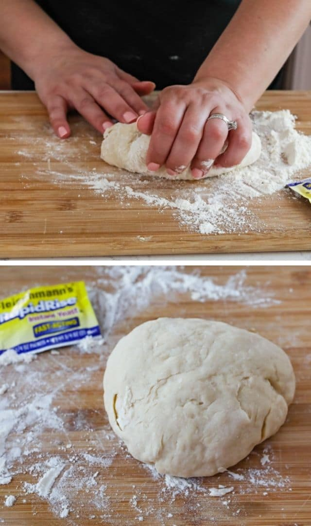 Dinner roll dough being kneed on a wood cutting board