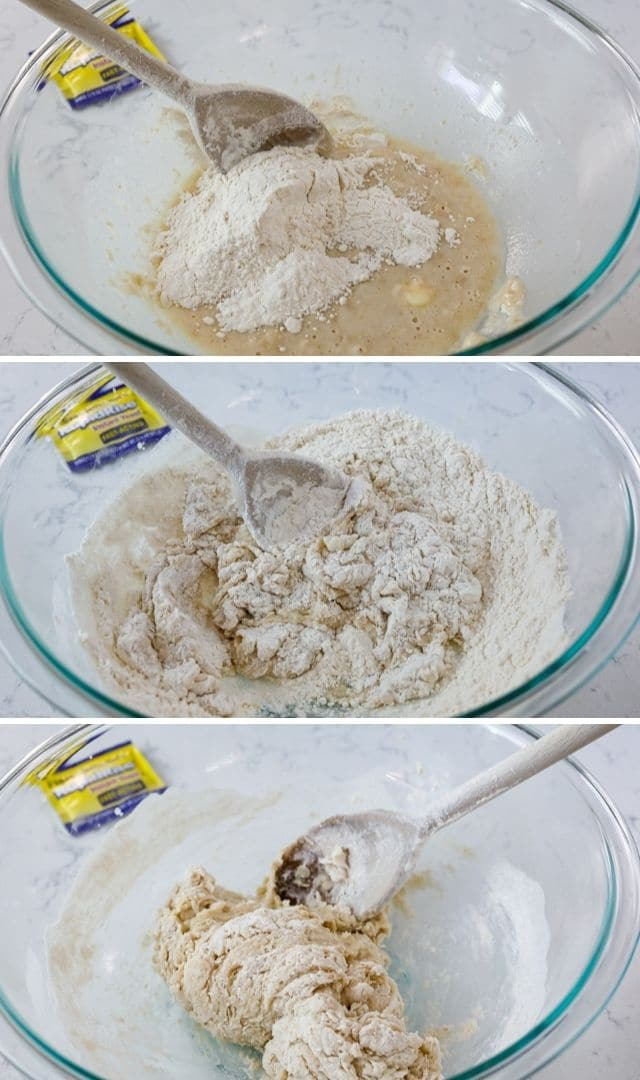 Three photos showing process of dough coming together