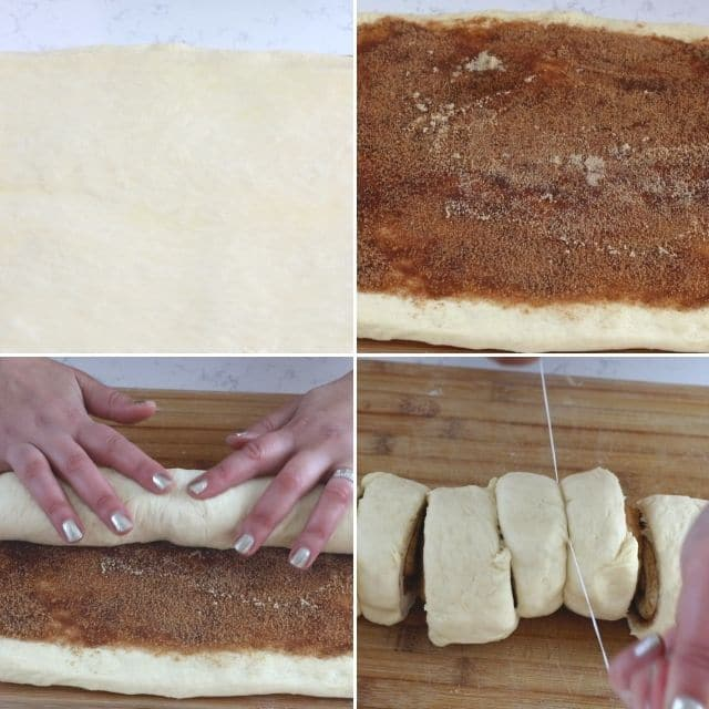 collage of 4 photos filling, rolling, and cutting cinnamon rolls