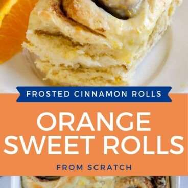 Photo collage showing orange sweet rolls with color block and recipe title in middle of photos