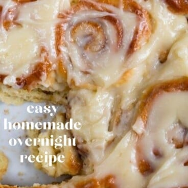 easy homemade cinnamon rolls overhead shot in pan