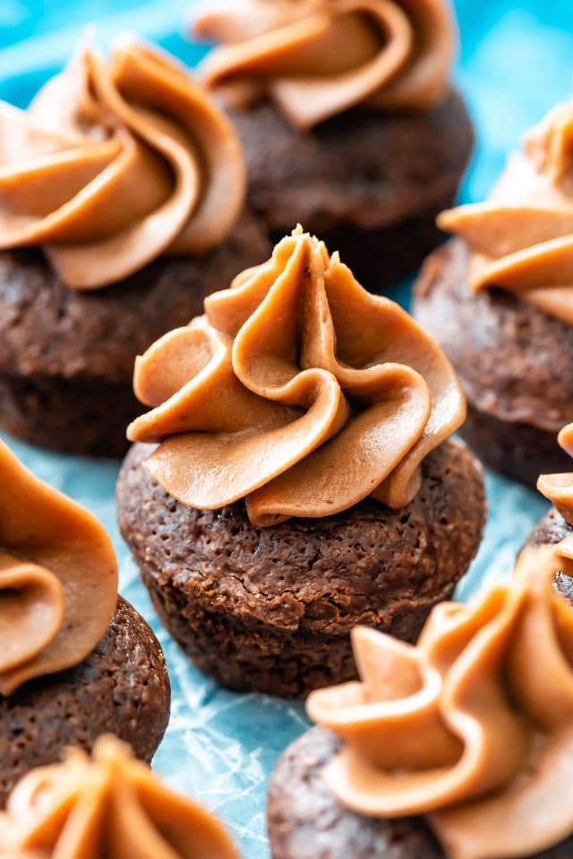 Chocolate cream cheese frosting on mini chocolate cupcakes