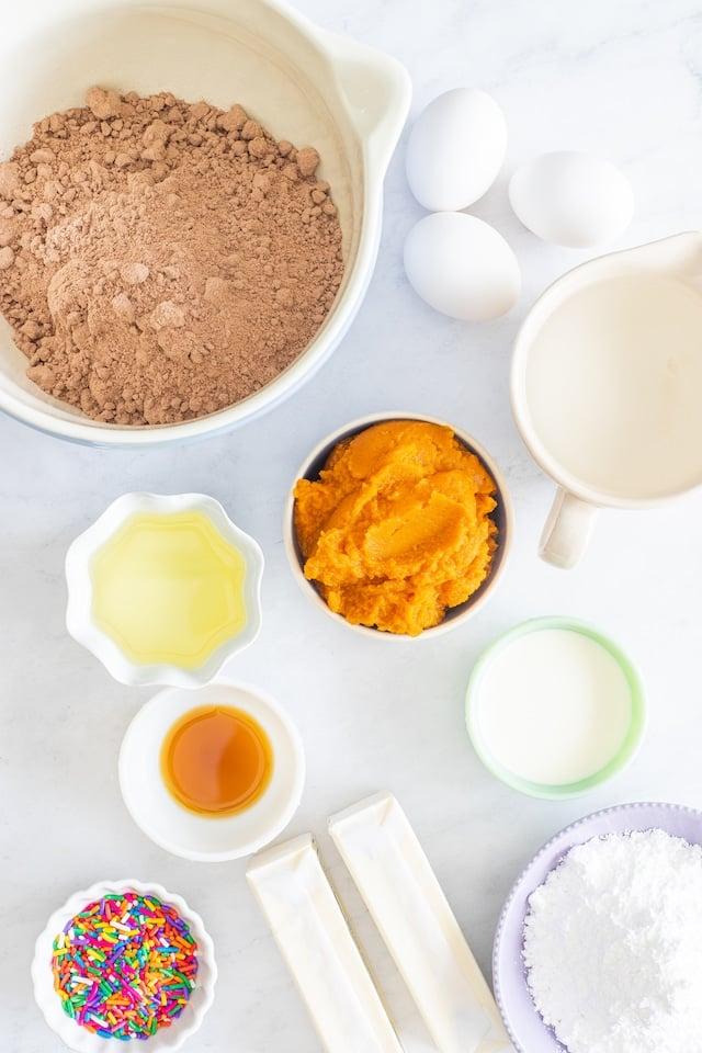 ingredients for pumpkin cupcakes