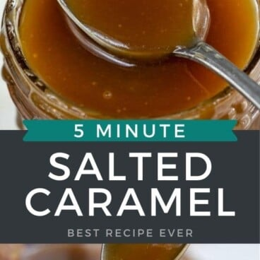 Photo collage of salted caramel sauce with recipe title in middle of photos