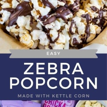 collage of zebra popcorn photo and bags of popcorn