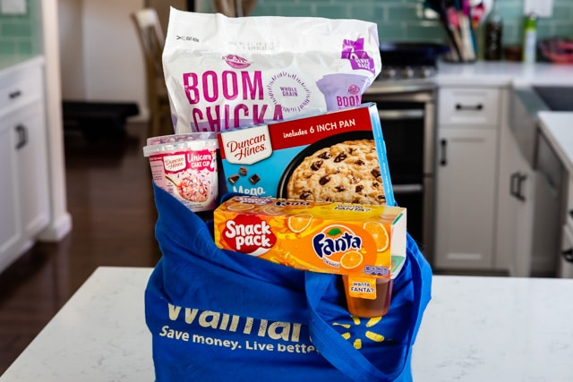 Walmart bag with snacks inside