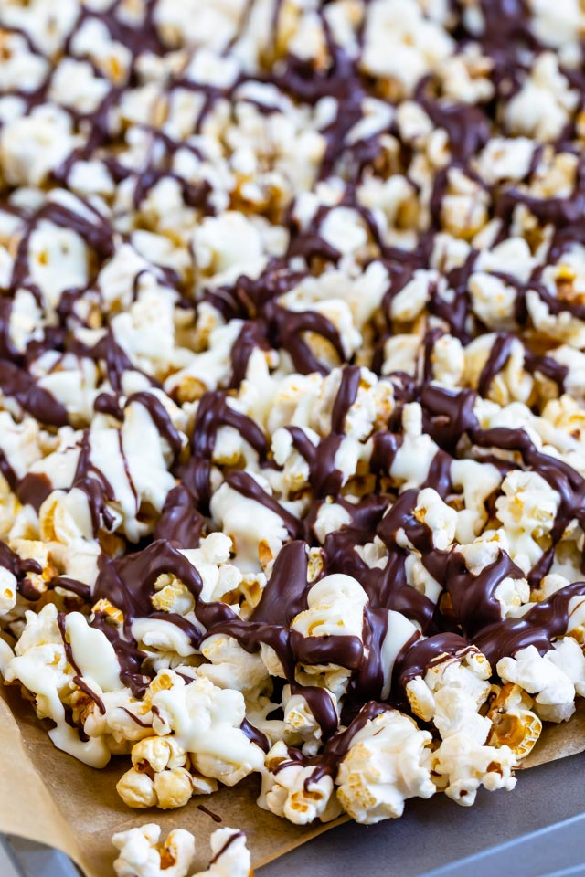 close up of popcorn coated in chocolate