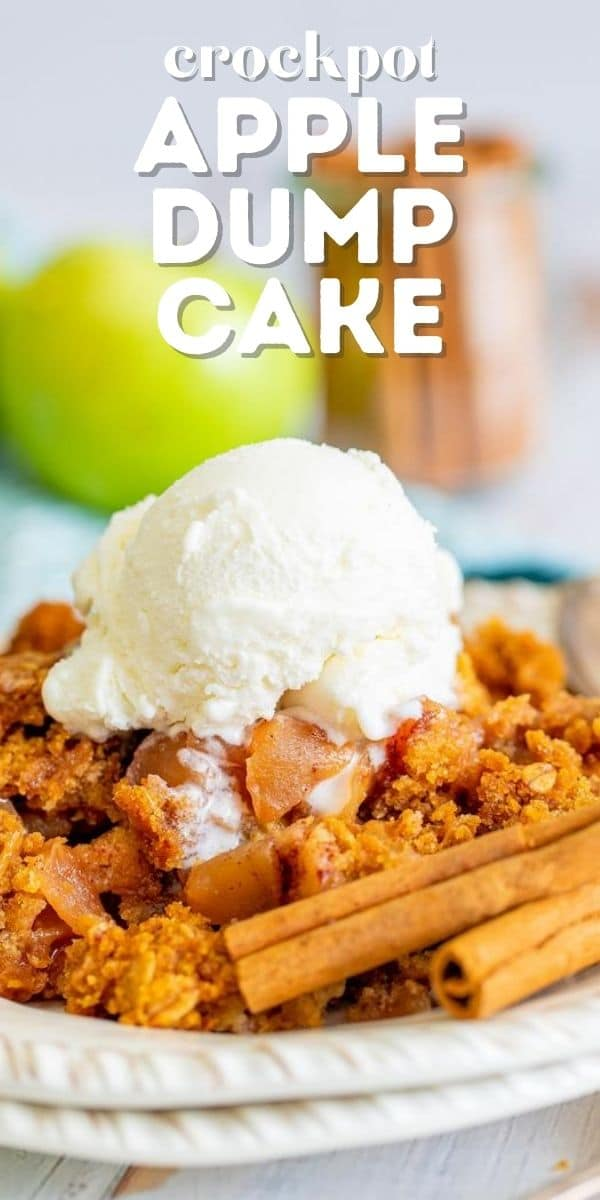 Apple dump cake on a white plate with a scoop of ice cream on top and recipe title on top of image