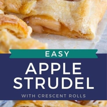 Collage of easy apple strudel with recipe title in middle of two photos