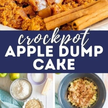 Photo collage showing ingredients and finished apple dump cake with recipe title in middle of photos