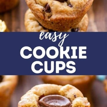 Photo collage of chocolate chip cookie cups with recipe title in middle of photos