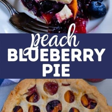 Two photo collage of peach blueberry pie with recipe title in between the photos