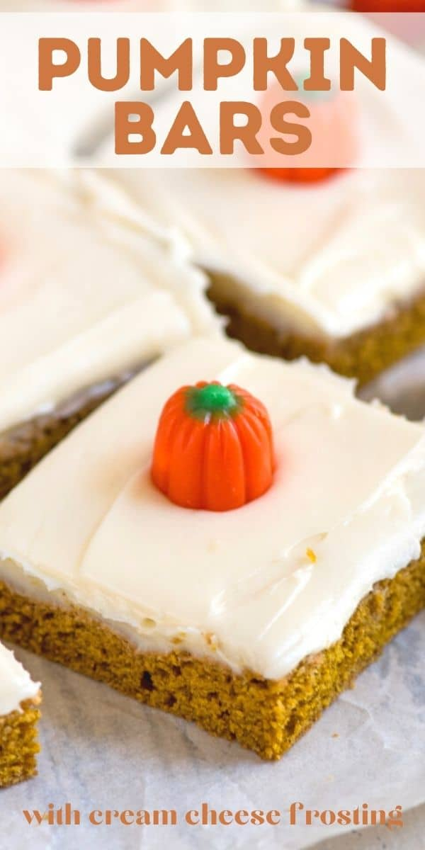 slice of pumpkin bar with pumpkin candy on top and words on photo