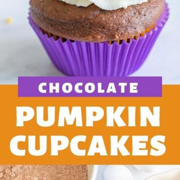 collage of pumpkin cupcake and ingredients with words on photo