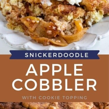 Collage of snickerdoodle apple cobbler with recipe title in between photos