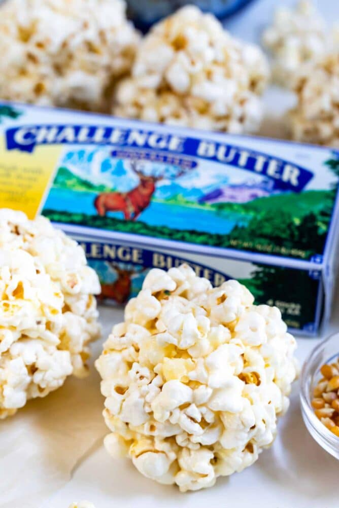 popcorn balls with challenge butter package