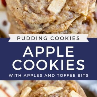 Photo collage of apple cookies with recipe title in middle of two photos