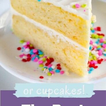 Slice of the best yellow cake with vanilla frosting and rainbow sprinkles and recipe title on bottom of image
