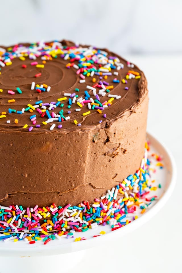 Chocolate frosting birthday cake with rainbow sprinkles on white cake stand