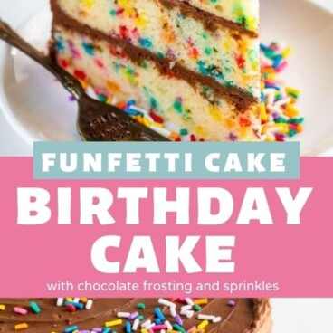 Photo collage of Funfetti birthday cake with chocolate frosting and recipe title in between the two photos