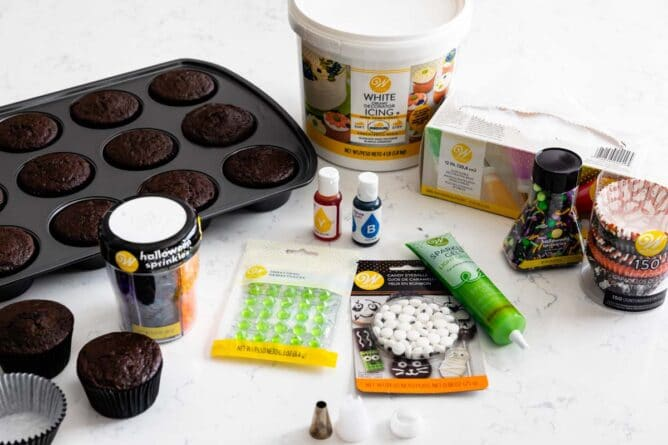 Wilton products used to make cauldron cupcakes