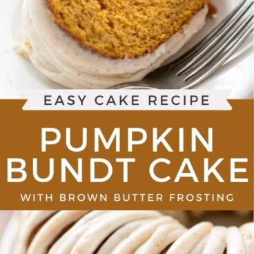Photo collage of pumpkin bundt cake with recipe title in between the two photos