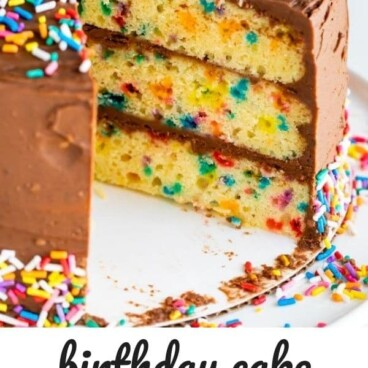 Funfetti birthday cake on a cake stand with one slice missing and recipe title on bottom of image