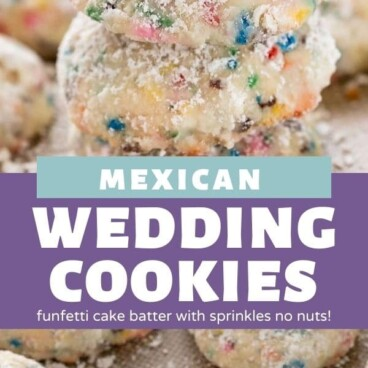 Photo collage of mexican wedding cookies with recipe title in between photos