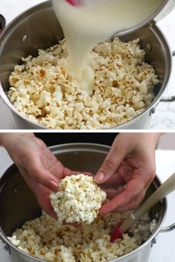 collage of pouring mixture over popcorn and forming balls