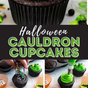 collage of photo of cauldron cupcake with how to photos of how to assemble the cupcakes