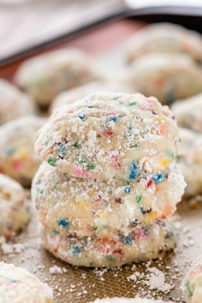 Close up photo of a stack of funfetti wedding cookies