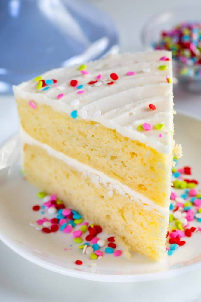Close up of a slice of layered yellow cake with vanilla frosting and rainbow sprinkles
