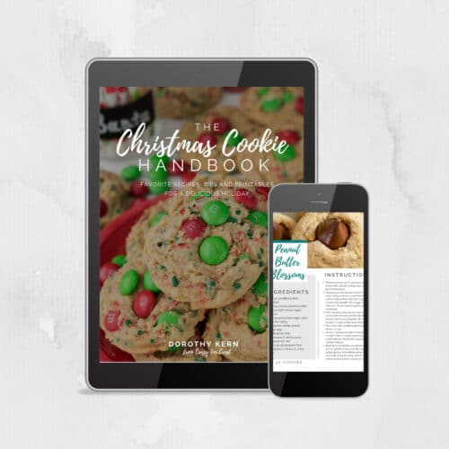 image showing mockup of Christmas Cookie ebook on cell phone and tablet