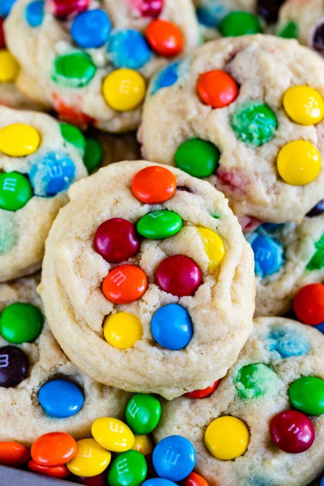 close up of stack of cookies with M&Ms