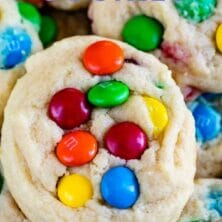 close up of stack of M&M cookies