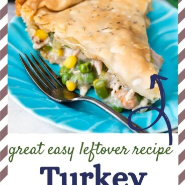 Slice of turkey pot pie on a turquoise plate with recipe title on bottom of image