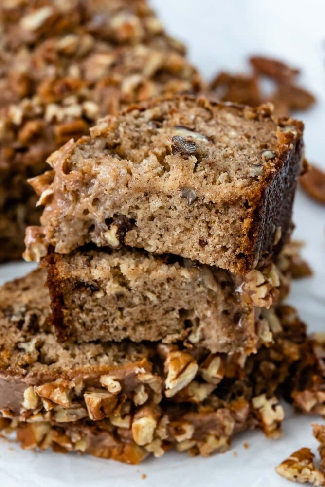 slices of banana nut bread stacked