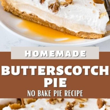 Photo collage of butterscotch pie with recipe title in between the photos