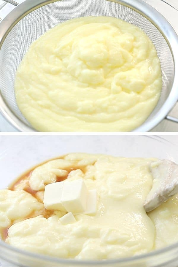 Two photos showing process of making homemade vanilla pudding