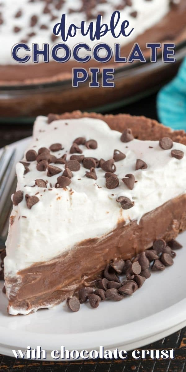 slice of chocolate pie with whipped cream on white plate with words on photo