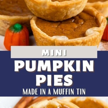 Photo collage of mini pumpkin pies with recipe title in middle of photos